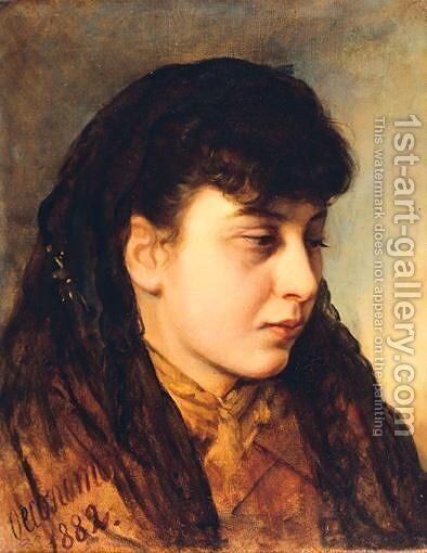 Portrait Of A Girl by Aristide Economou - Reproduction Oil Painting