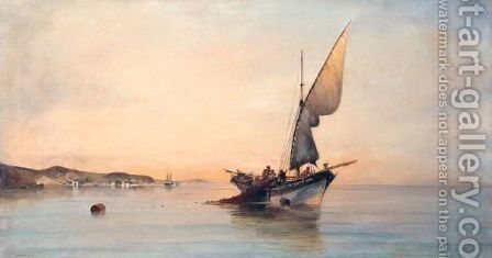 Fishing In Calm Waters by Constantinos Volanakis - Reproduction Oil Painting