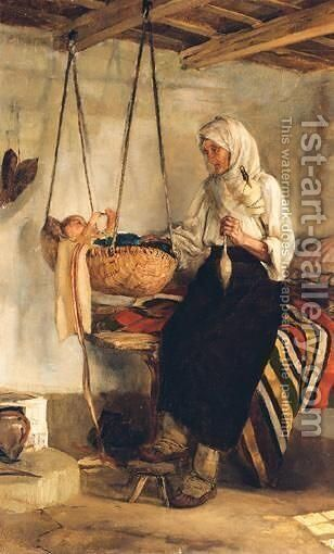Watching The Baby by Continental School - Reproduction Oil Painting