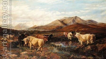 Cattle In Highland Landscape by (after) Henry William Banks Davis - Reproduction Oil Painting
