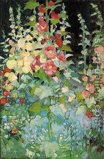 Hollyhocks by Daniel Pender Davidson - Reproduction Oil Painting