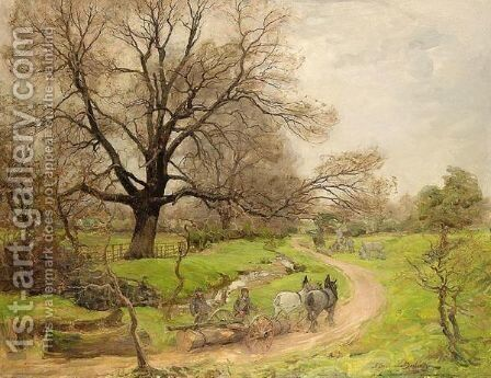 The Log Cart by Alexander Brownlie Docharty - Reproduction Oil Painting