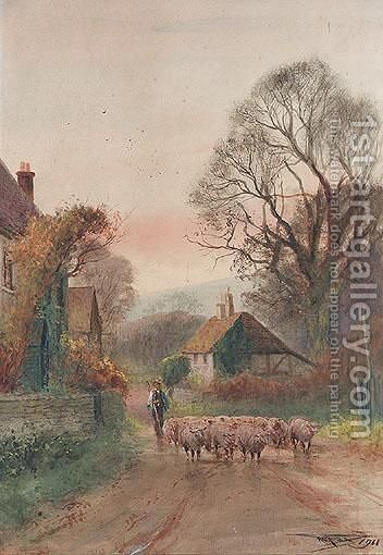 Driving Sheep by Henry Charles Fox - Reproduction Oil Painting