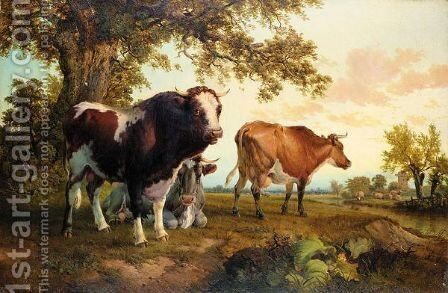 Cattle In A Field by (after) Thomas Sidney Cooper - Reproduction Oil Painting