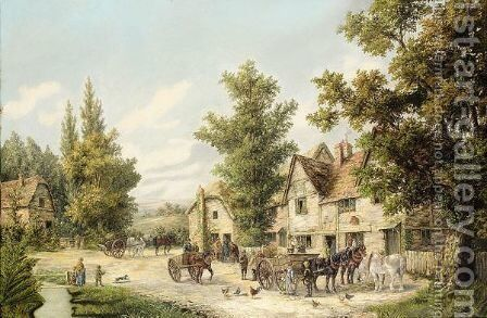 Outside 'The Horse's Head' , Village Green, Hampstead by Edwin Masters - Reproduction Oil Painting