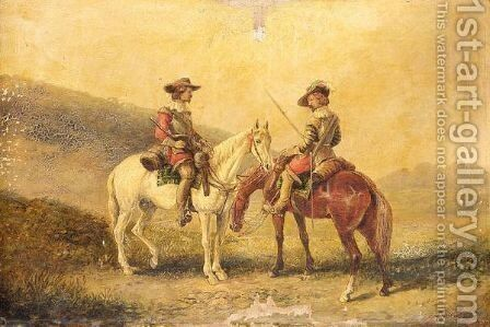 Musketeers On Horseback by Sir John Gilbert - Reproduction Oil Painting