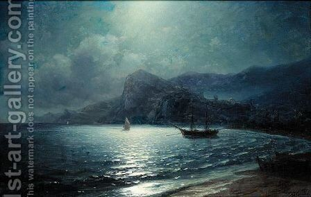 Shipping In A Bay By Moonlight by (after) Ivan Konstantinovich Aivazovsky - Reproduction Oil Painting