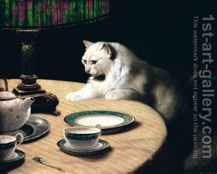 Cat On Table by Arthur Heyer - Reproduction Oil Painting