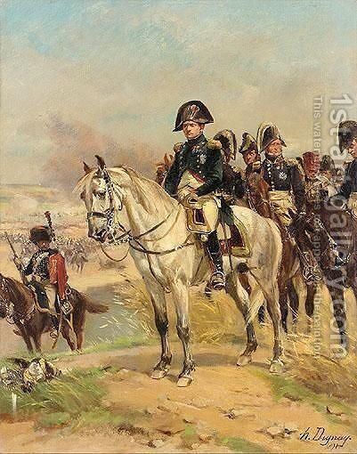 Napoleon With His Officers by Henri-Louis Dupray - Reproduction Oil Painting