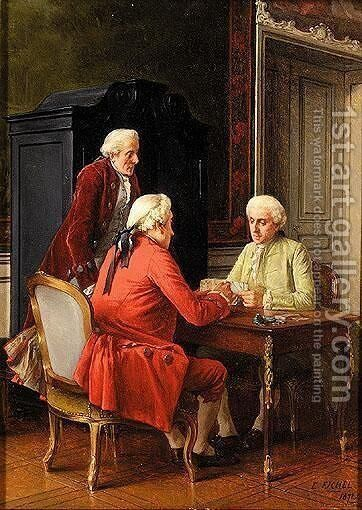 The Cardplayers by Benjamin Eugene Fichel - Reproduction Oil Painting