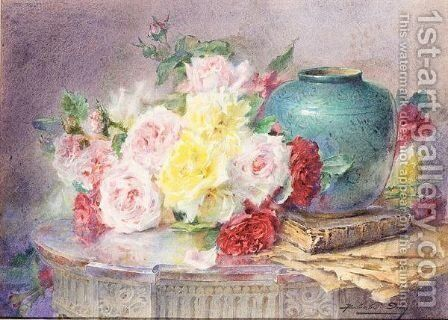 Still Life Study Of Roses, A Book And Vase by Blanche Odin - Reproduction Oil Painting