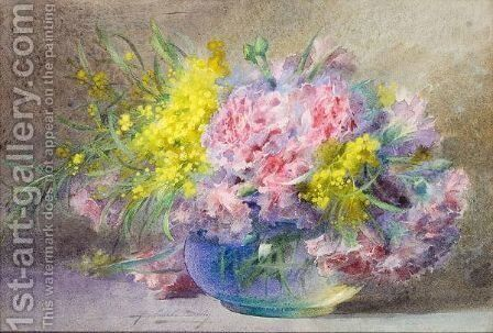 Still Life Of Flowers Including Mimosa And Other Flowers In A Glass Bowl by Blanche Odin - Reproduction Oil Painting