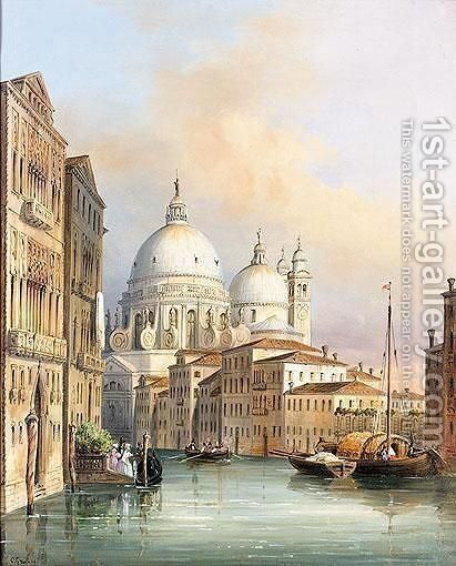Santa Maria De La Salute From The Grand Canal by Carlo Grubacs - Reproduction Oil Painting