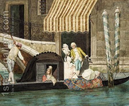 The Gondolier by A Buzzi - Reproduction Oil Painting