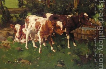 Calves 2 by David Gauld - Reproduction Oil Painting