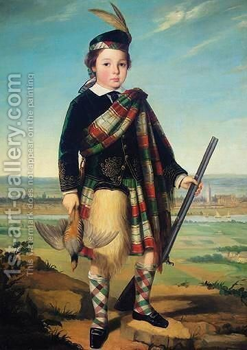 The Young Highlander With Aberdeen In The Distance by (after) Sir John Watson Gordon - Reproduction Oil Painting