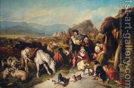 A Scene In The Grampians- The Drovers' Departure by (after) Landseer, Sir Edwin - Reproduction Oil Painting