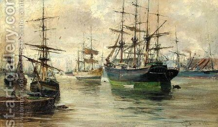 Shipping On The Clyde 2 by Charles James Lauder - Reproduction Oil Painting