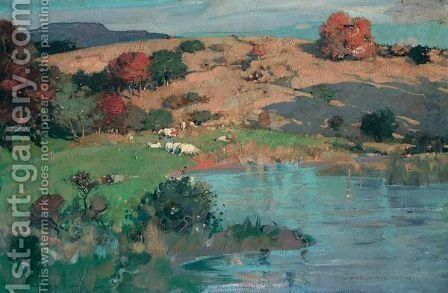 Cattle Grazing In A Meadow by James Whitelaw Hamilton - Reproduction Oil Painting