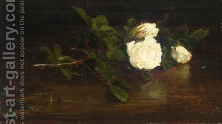 A Still Life Of Christmas Roses by Sir George Reid - Reproduction Oil Painting