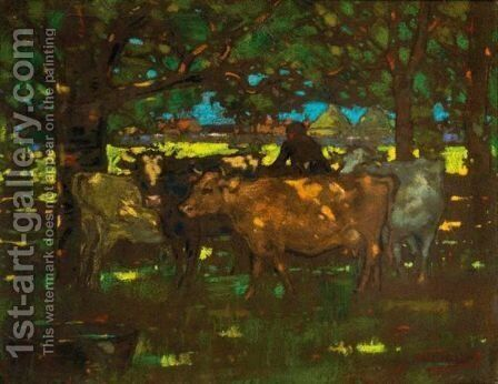Cattle Resting In The Shade by James Watterston Herald - Reproduction Oil Painting