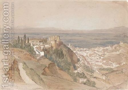 The Alhambra With The Generalife And The Palace Of Charles V From Under La Silla Del Moro by (after) Edward Lear - Reproduction Oil Painting