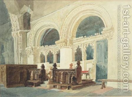 The Chancel, Walsaken Church by Miles Edmund Cotman - Reproduction Oil Painting