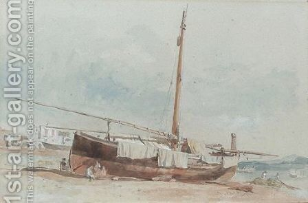 A Beached Boat, Ischia, Italy by Edward Angelo Goodall - Reproduction Oil Painting