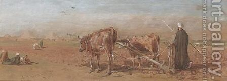 Egyptian Farmer, Pyramids In The Distance by Edward Angelo Goodall - Reproduction Oil Painting