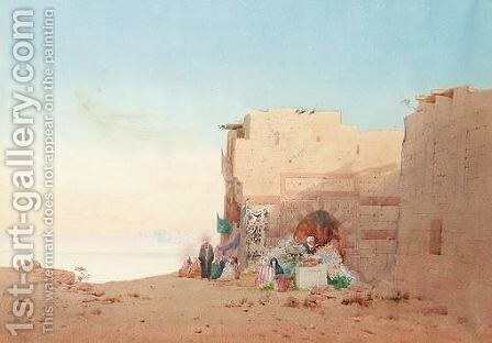 A Market At Luxor by Augustus Osborne Lamplough - Reproduction Oil Painting