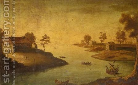 River Landscape by English Provincial School - Reproduction Oil Painting