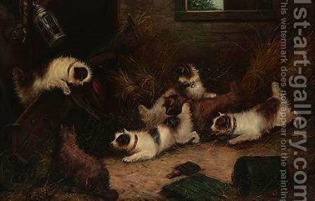 Pack Of Terriers Ratting by Edward Armfield - Reproduction Oil Painting