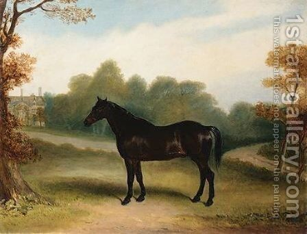 A Dark Bay Hunter In The Grounds Of A Country House by Claude L. Ferneley - Reproduction Oil Painting