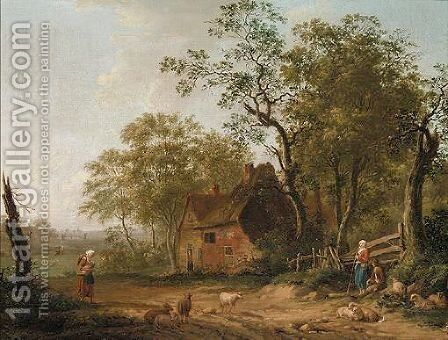 Figures And Sheep Outside A Country Cottage by (after) Patrick Nasmyth - Reproduction Oil Painting