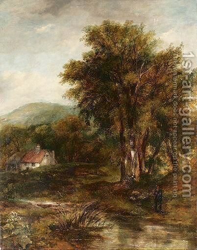 Man Fishing In A Wooded Landscape by (after) Frederick Waters Watts - Reproduction Oil Painting