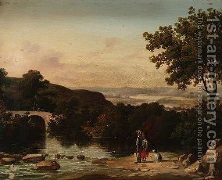 Landscape With Figures By A River by (after) James Arthur O'Connor - Reproduction Oil Painting