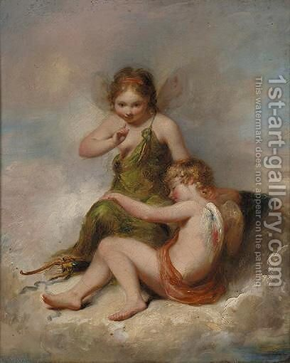 Cherubs by (after) Alfred Joseph Woolmer - Reproduction Oil Painting