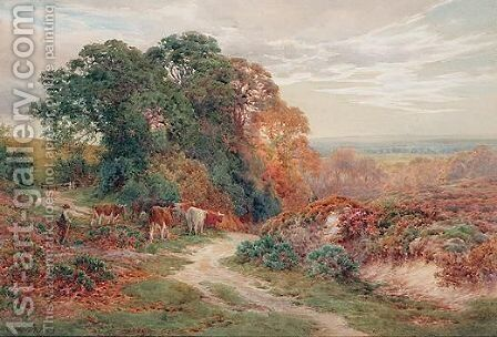 Driving Cattle by Charles James Adams - Reproduction Oil Painting