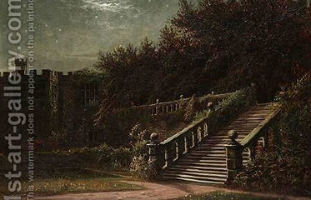 The Terrace, Haddon Hall, Derbyshire By Moonlight by Arthur William Redgate - Reproduction Oil Painting