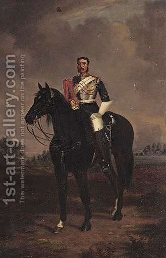 Cavalryman On Horseback by (after) Albert Henry Payne - Reproduction Oil Painting