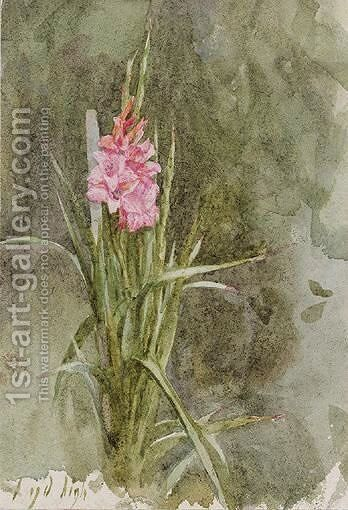 Pink Gladiolae by Helen Mary Elizabeth Allingham, R.W.S. - Reproduction Oil Painting