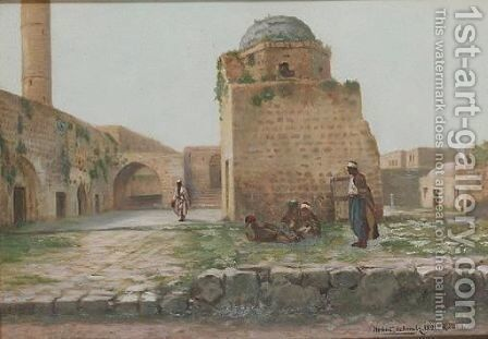 Courtyard Of The Old Mosque At Ramleh by Herbert Gustav Schmalz - Reproduction Oil Painting