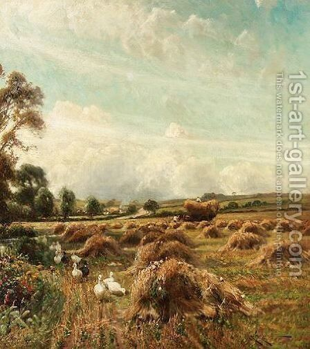 Ducks In A Harvest Field by Arthur William Redgate - Reproduction Oil Painting