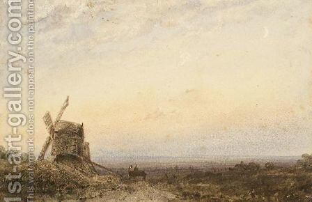 A Windmill In An Open Landscape by Claude Hayes - Reproduction Oil Painting