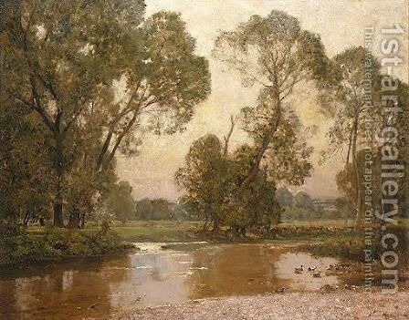 River Landscape by Sir Alfred East - Reproduction Oil Painting
