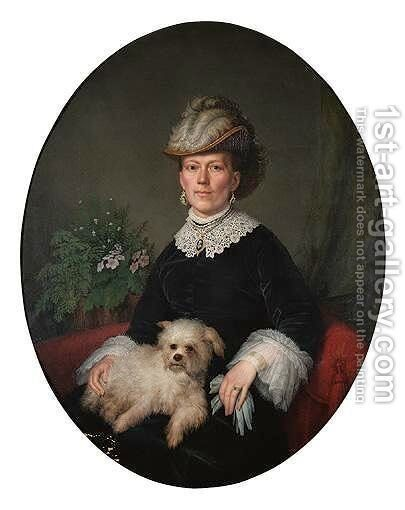 Portrait Of A Lady With Her Pet Dog by Continental School - Reproduction Oil Painting