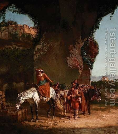 The Well by (after) Charles Caumont - Reproduction Oil Painting