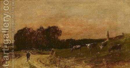A Country Lane by (after) Mihaly Munkacsy - Reproduction Oil Painting