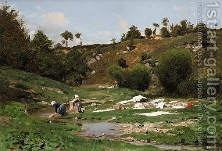 The Washerwomen by Jean Henri Zuber - Reproduction Oil Painting