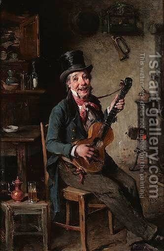 The Guitar Player by Hermann Kern - Reproduction Oil Painting